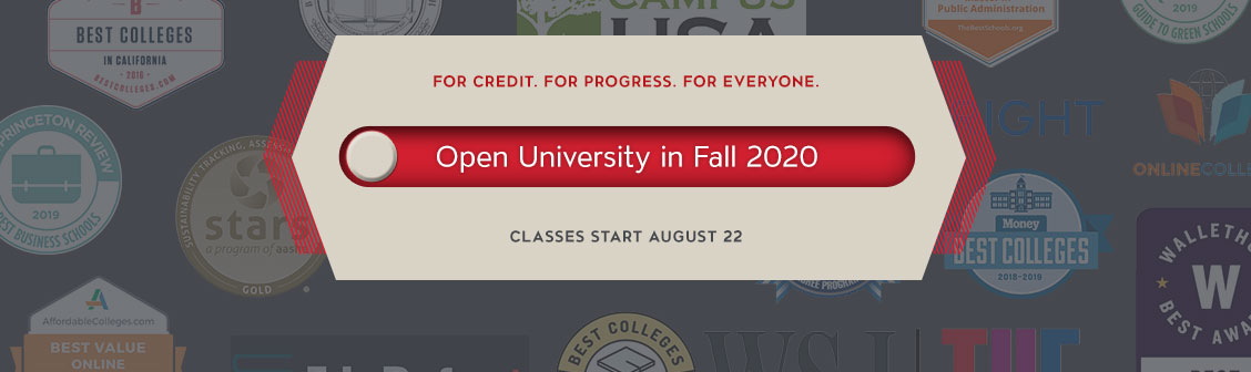 Open University Fall 2020. Classes Open to the Public.