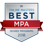 Number 11 Best Online MPA Programs badge.