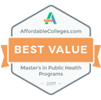 Number 22 Affordable Online Master's Degrees in Public Health 2017 badge.