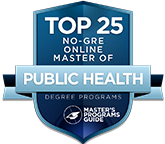 Number 6 top 25 no-GRE online master of public health degree programs badge.