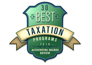Accounting Degree Review - Top 30 Best Value Master's in Taxation Degrees 2017 badge