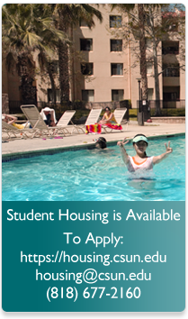 Summer Housing apply at housing.csun.edu