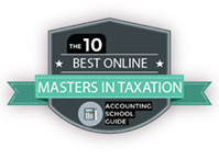 The 10 Best Online Masters in Taxation 2018 badge