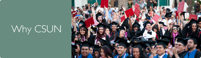 Why California State University, Northridge. Large group of students in graduation gowns smiling and holding up their diplomas.