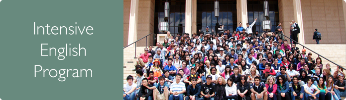 Intensive English Program. Large group of students of different nationalities pose for a photo on the steps of the Oviatt Library on CSUN campus.