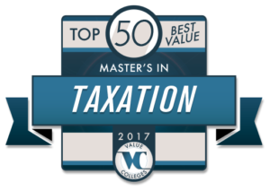 Value Colleges - Top 50 Best Value Master's in Taxation Degrees 2017 badge