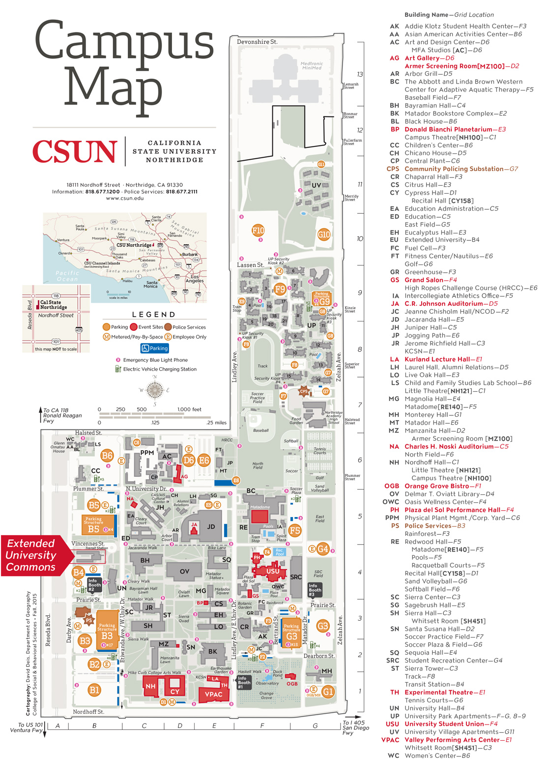 Map of CSUN campus with Extended University Building highligted.