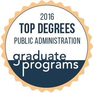 Top graduate MPA program seal.