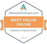 Badge: Most affordable Social Work Degrees - 2018 by www.affordablecolleges.com