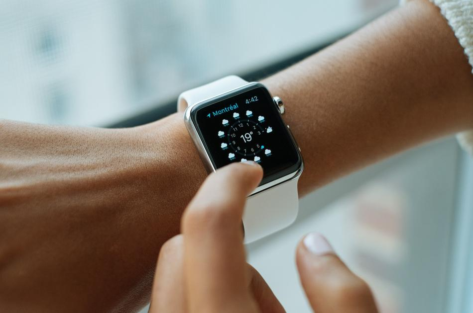 Close-up view of someone using an Apple smart watch